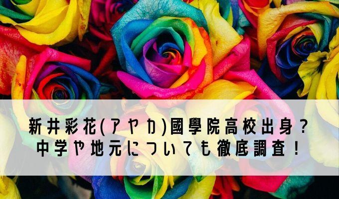新井彩花(アヤカ)國學院高校出身? 中学や地元についても徹底調査!